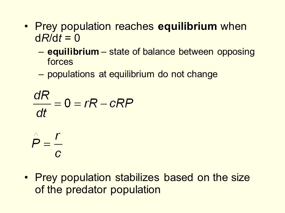 Prey population reaches equilibrium when dR/dt = 0