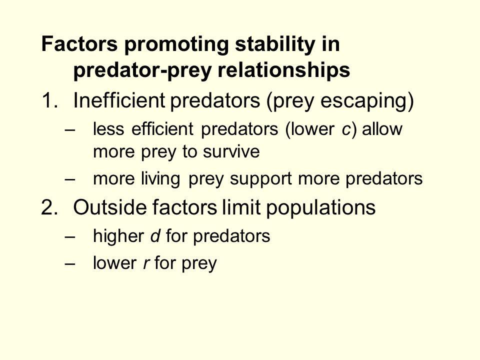 Factors promoting stability in predator-prey relationships