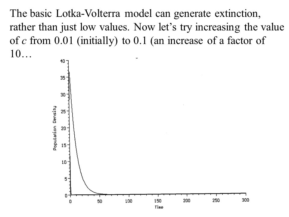 The basic Lotka-Volterra model can generate extinction, rather than just low values.