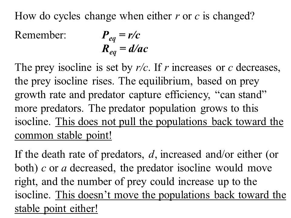 How do cycles change when either r or c is changed