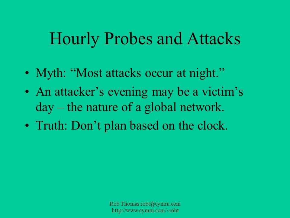 Hourly Probes and Attacks