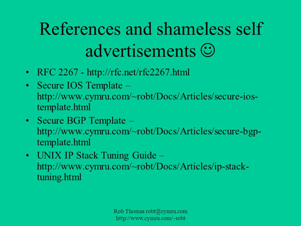 References and shameless self advertisements 