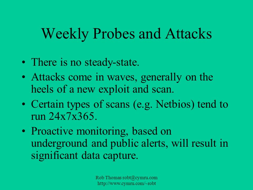 Weekly Probes and Attacks