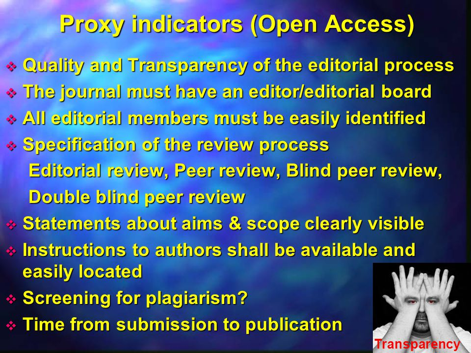 Proxy indicators (Open Access)