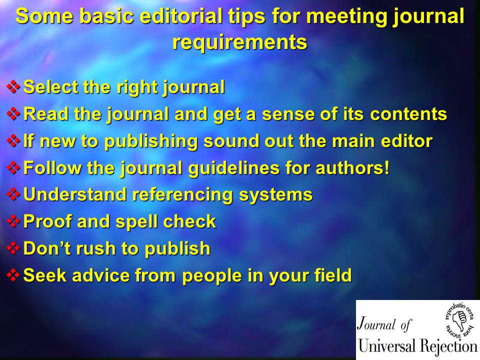 Some basic editorial tips for meeting journal requirements