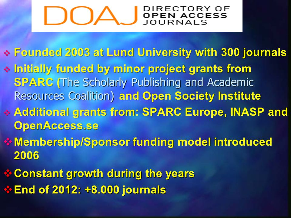 Founded 2003 at Lund University with 300 journals