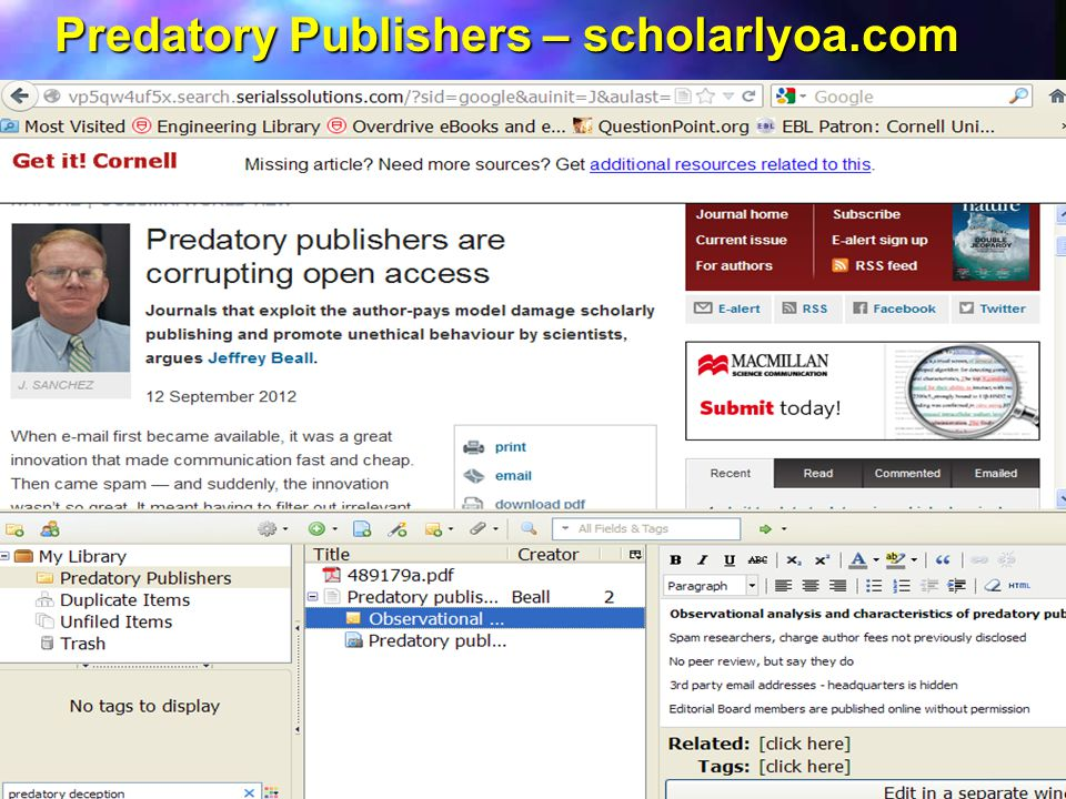 Predatory Publishers – scholarlyoa.com