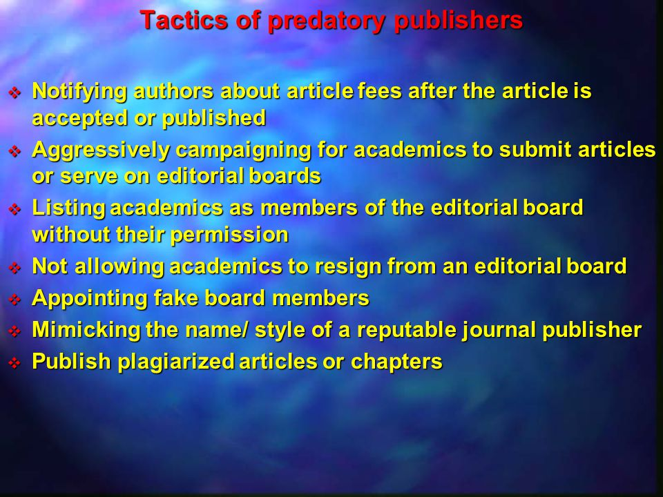 Tactics of predatory publishers