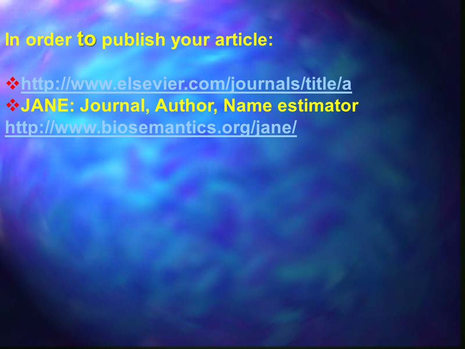 In order to publish your article: