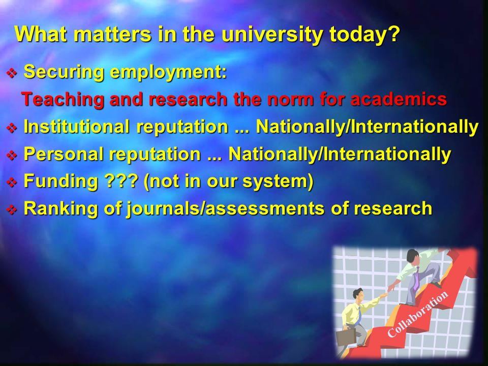 What matters in the university today