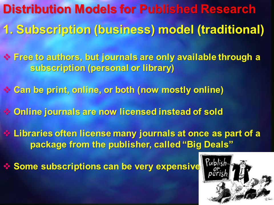 Distribution Models for Published Research