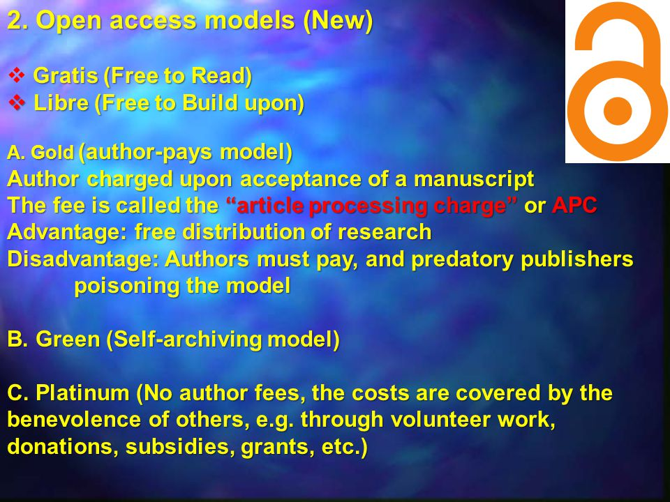 2. Open access models (New)