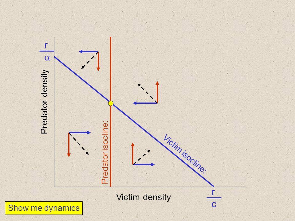 r a r c Predator density Victim density Predator isocline: