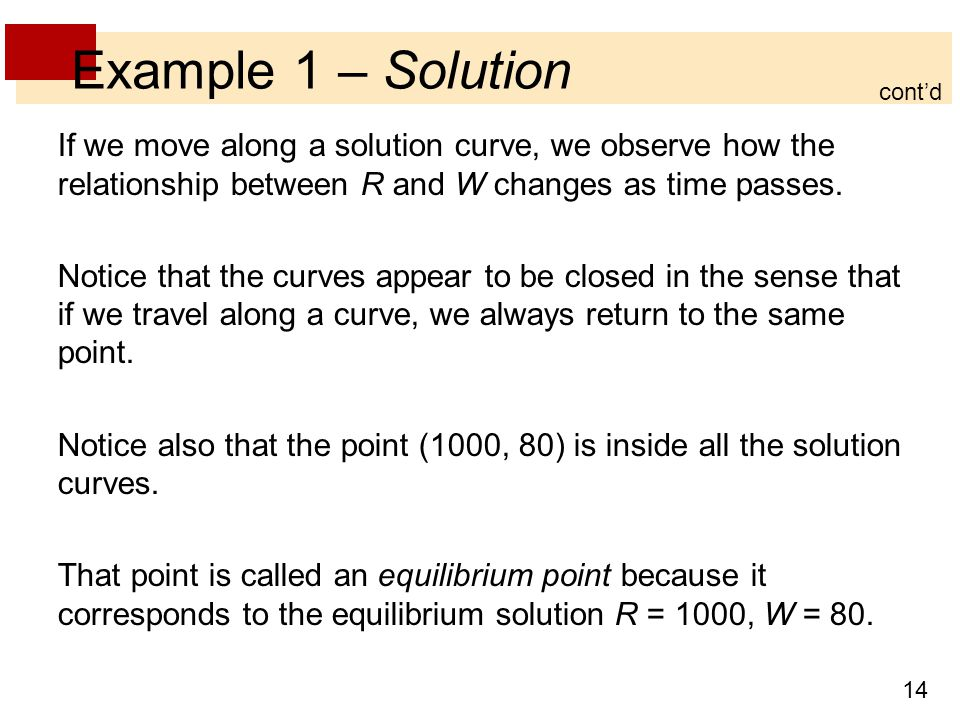 Example 1 – Solution cont'd. If we move along a solution curve, we observe how the relationship between R and W changes as time passes.
