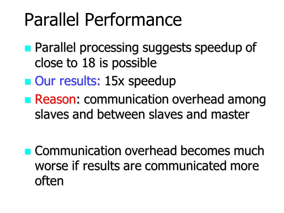 Parallel Performance Parallel processing suggests speedup of close to 18 is possible. Our results: 15x speedup.