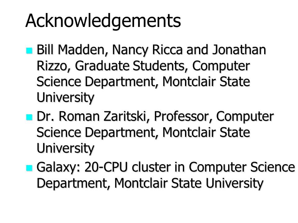 Acknowledgements Bill Madden, Nancy Ricca and Jonathan Rizzo, Graduate Students, Computer Science Department, Montclair State University.