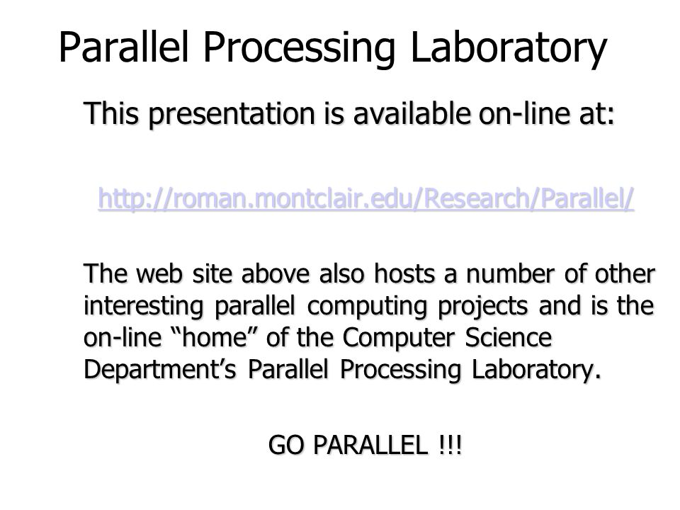 Parallel Processing Laboratory