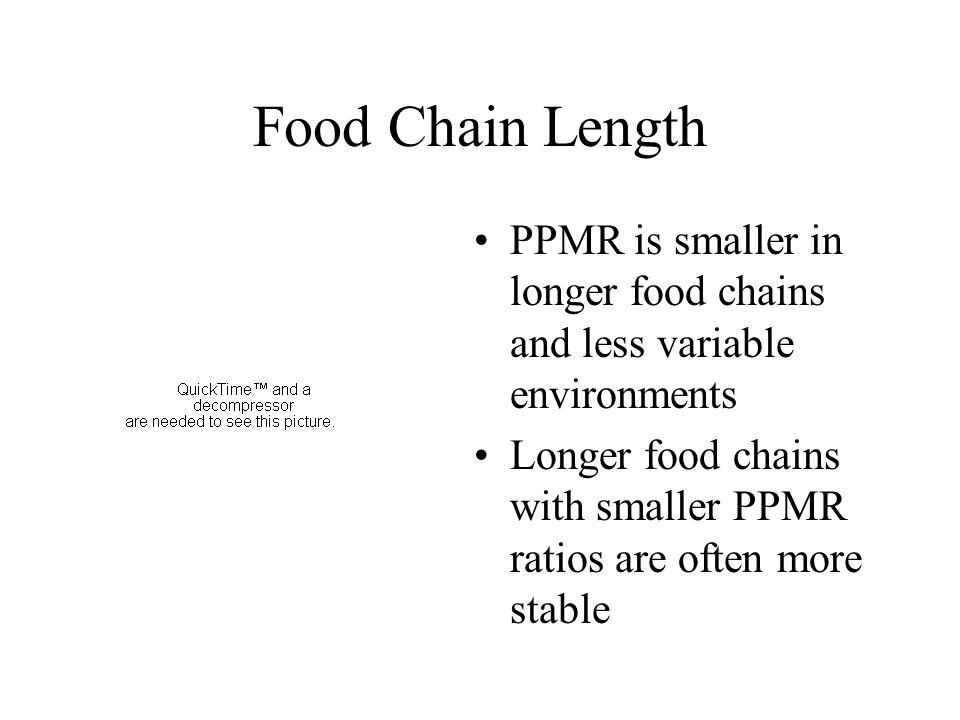 Food Chain Length PPMR is smaller in longer food chains and less variable environments.