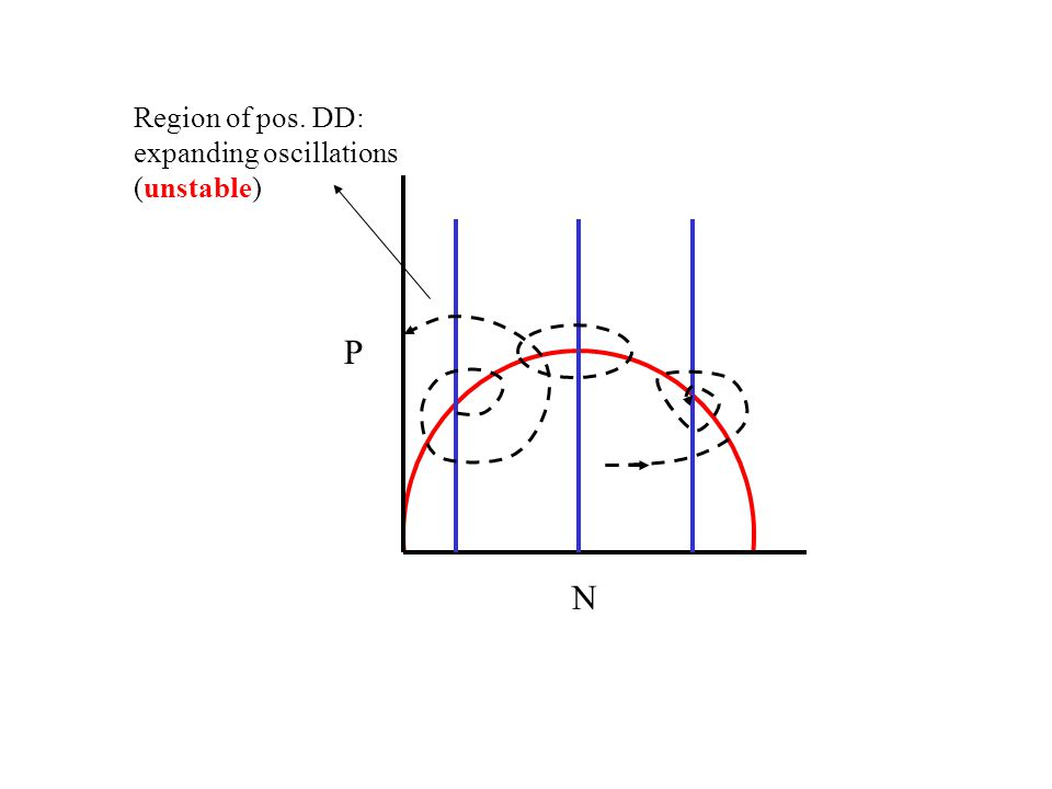 Region of pos. DD: expanding oscillations (unstable) P N