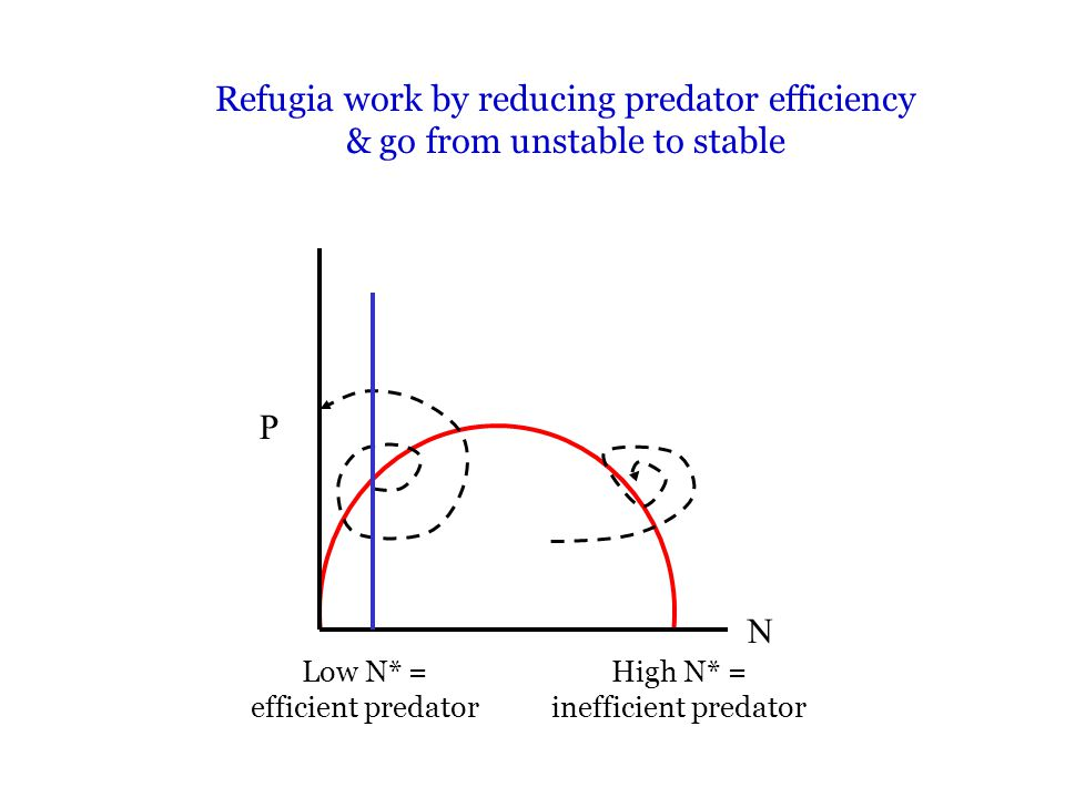 Refugia work by reducing predator efficiency