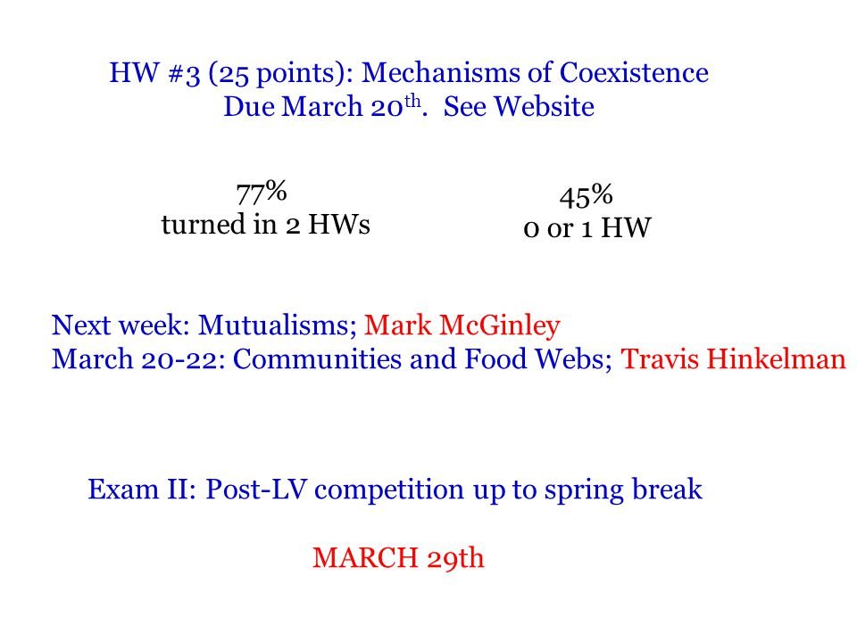 HW #3 (25 points): Mechanisms of Coexistence