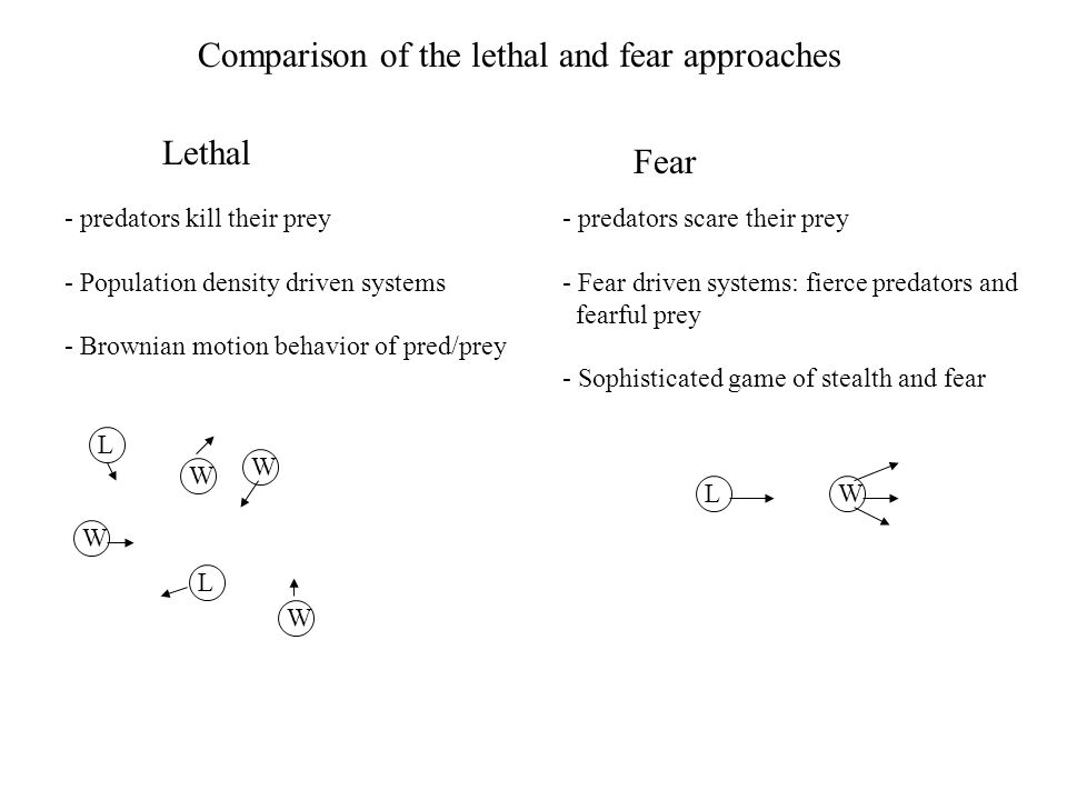 Comparison of the lethal and fear approaches