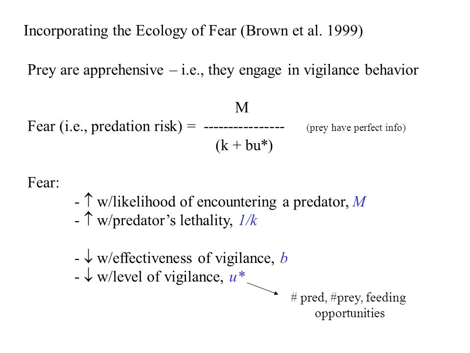 Incorporating the Ecology of Fear (Brown et al. 1999)