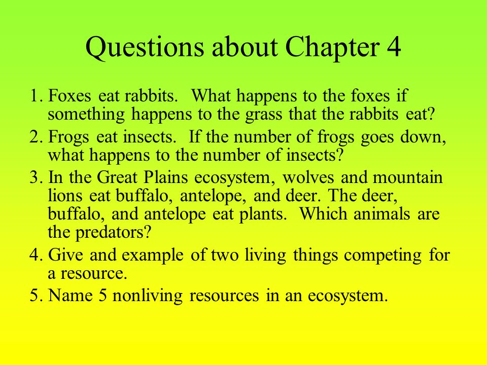 Questions about Chapter 4