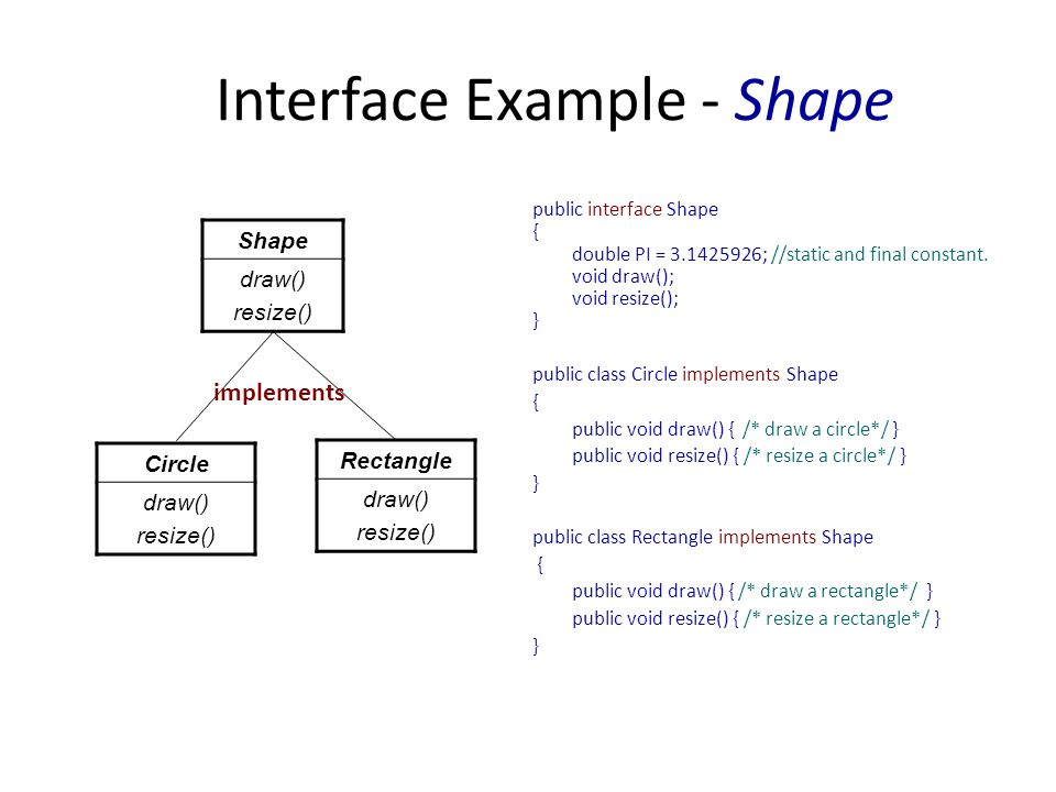Interface Example - Shape