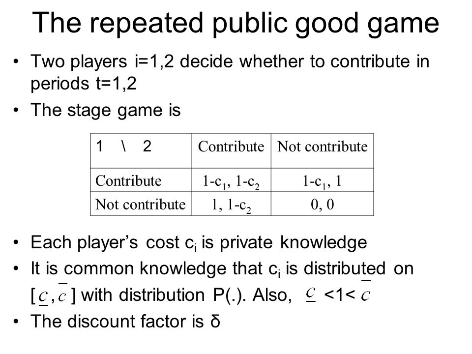 The repeated public good game
