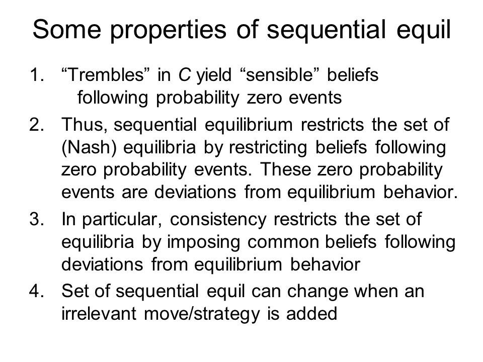 Some properties of sequential equil