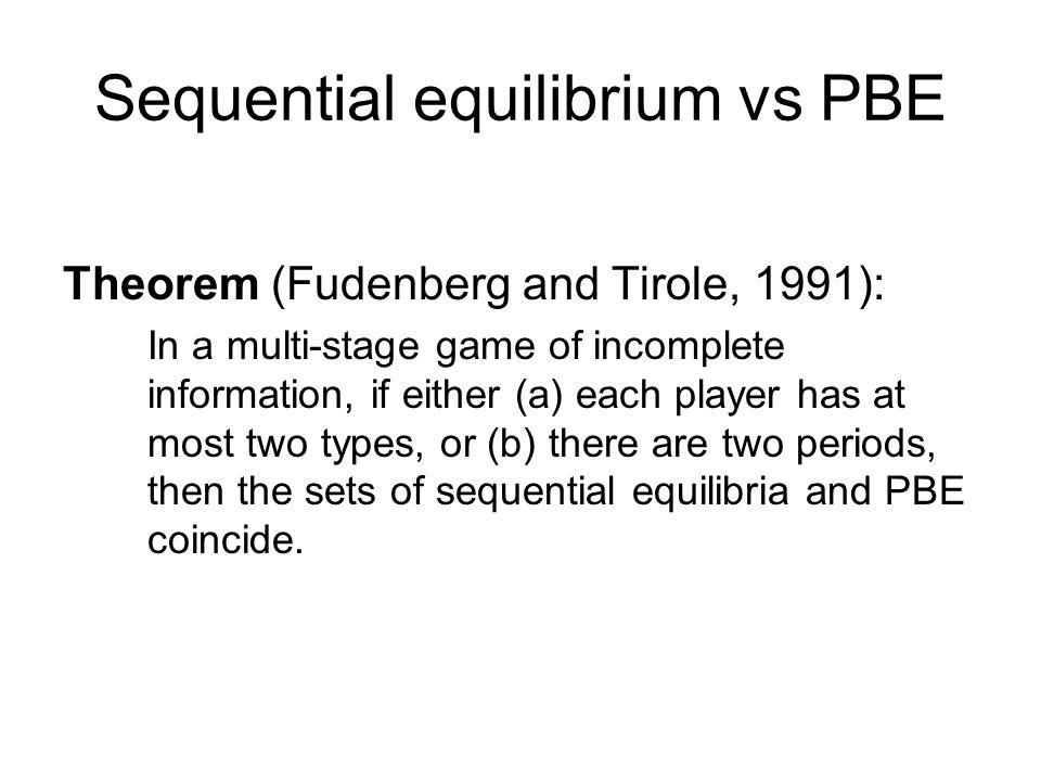 Sequential equilibrium vs PBE