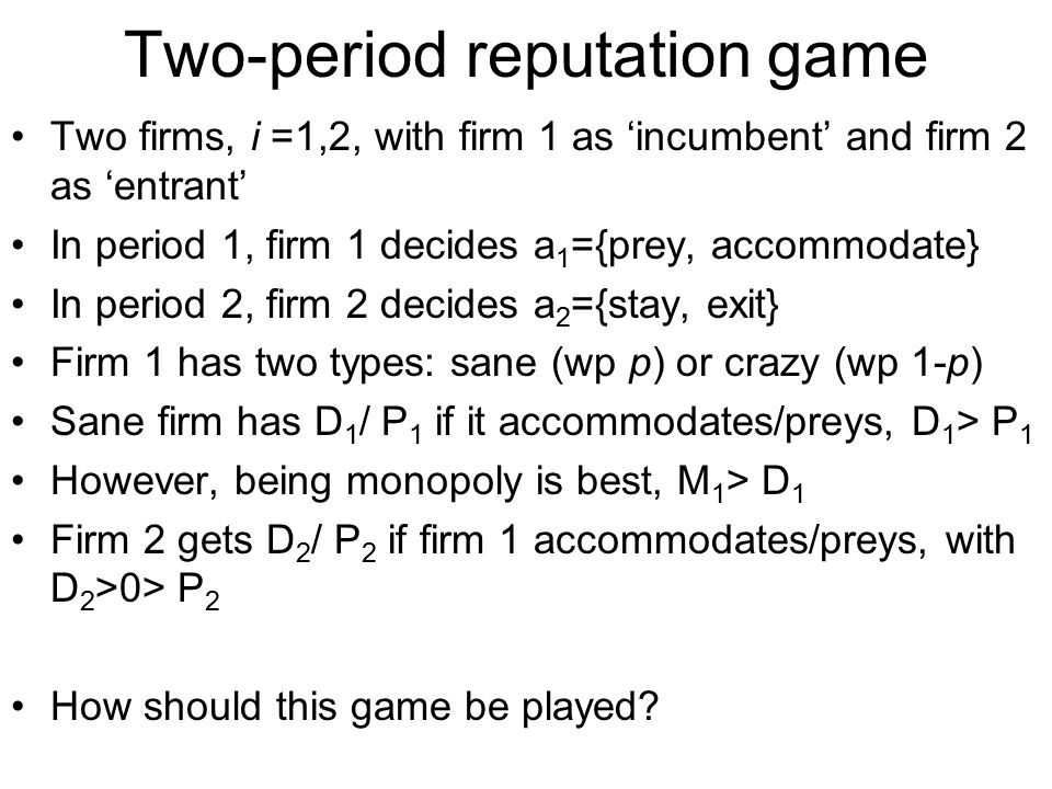 Two-period reputation game
