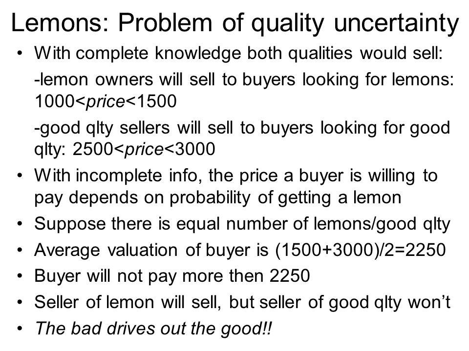 Lemons: Problem of quality uncertainty