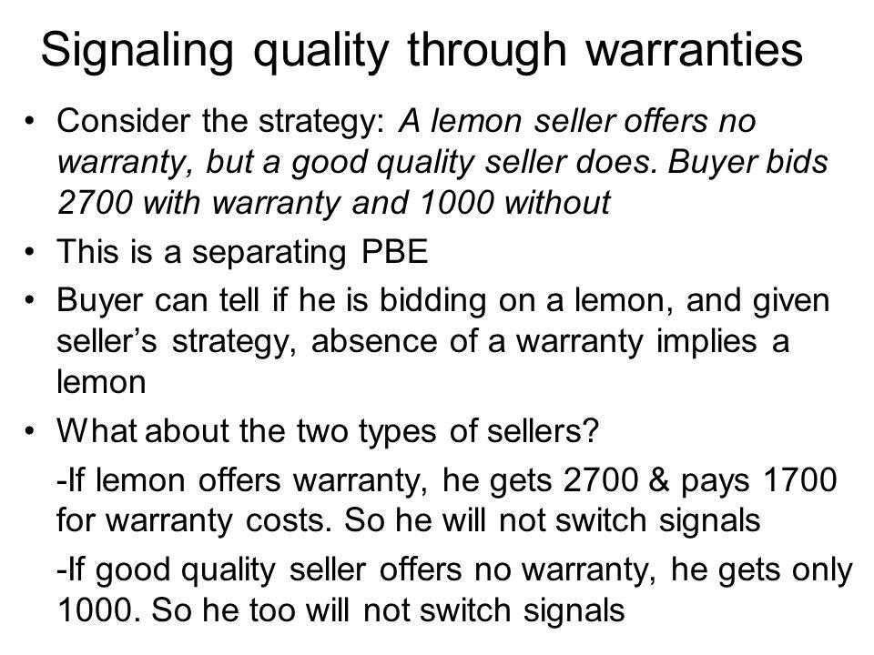 Signaling quality through warranties
