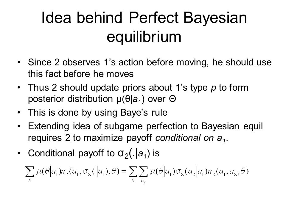 Idea behind Perfect Bayesian equilibrium