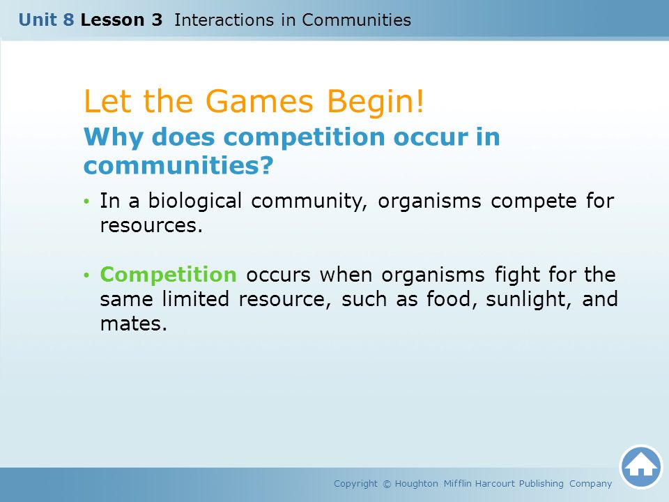 Let the Games Begin! Why does competition occur in communities