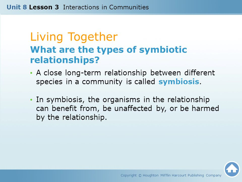 Living Together What are the types of symbiotic relationships