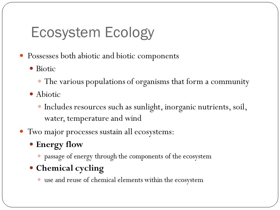 Ecosystem Ecology Possesses both abiotic and biotic components Biotic