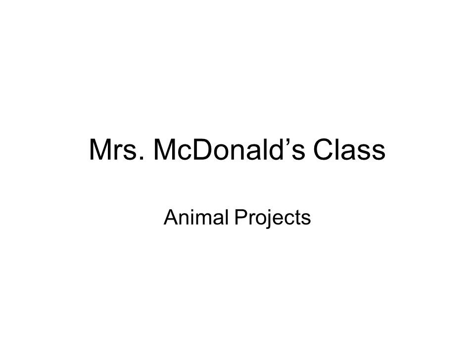 Mrs. McDonald's Class Animal Projects