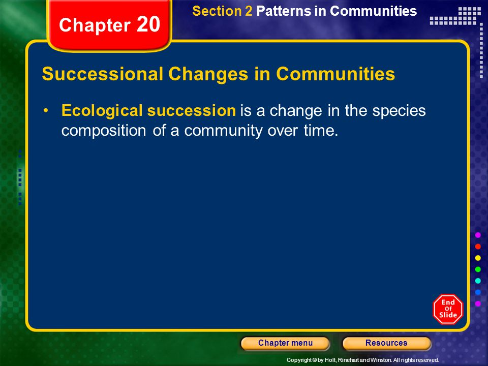 Successional Changes in Communities