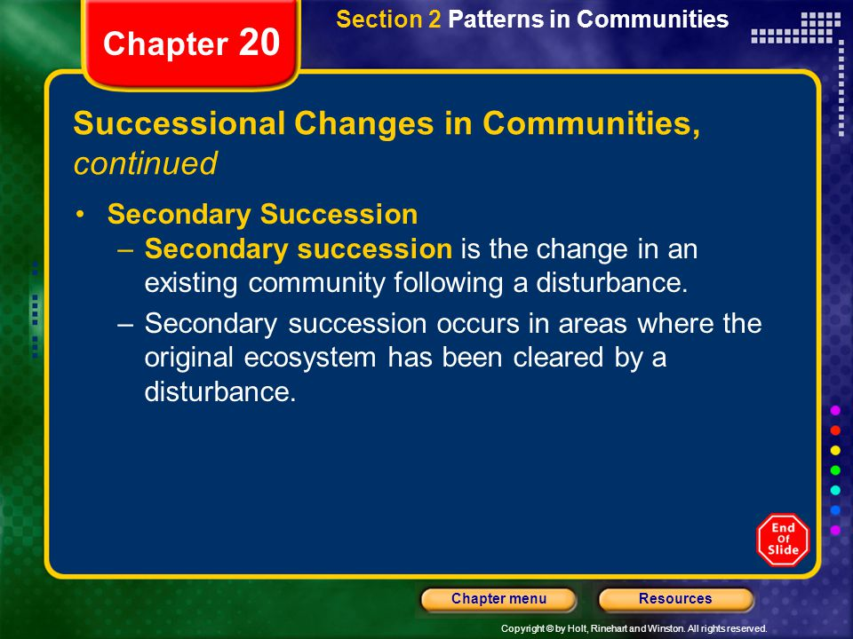 Successional Changes in Communities, continued
