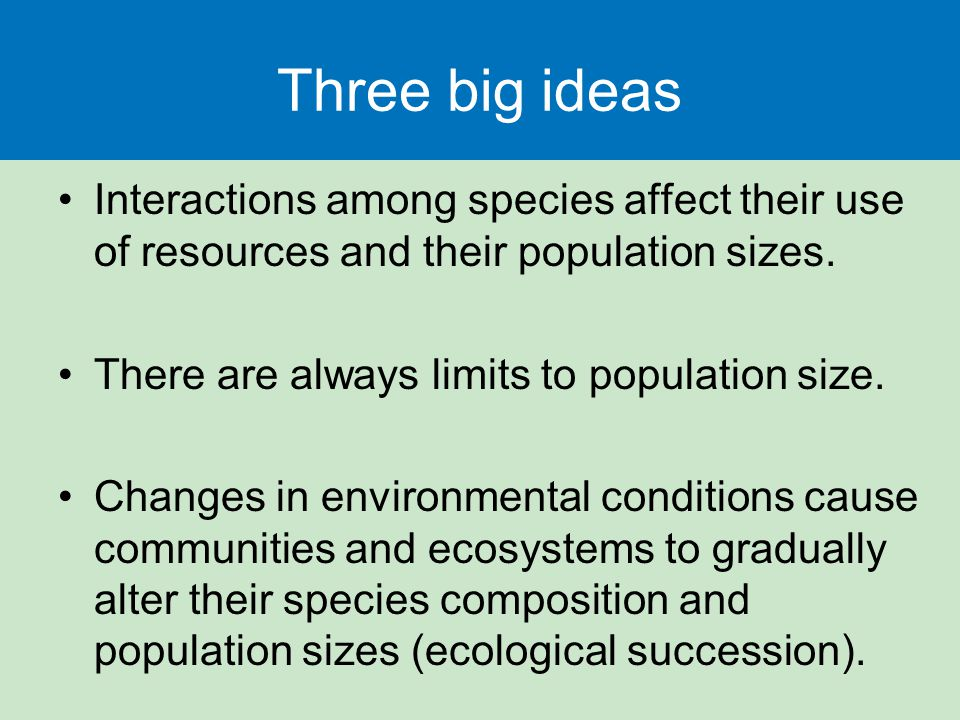 Three big ideas Interactions among species affect their use of resources and their population sizes.