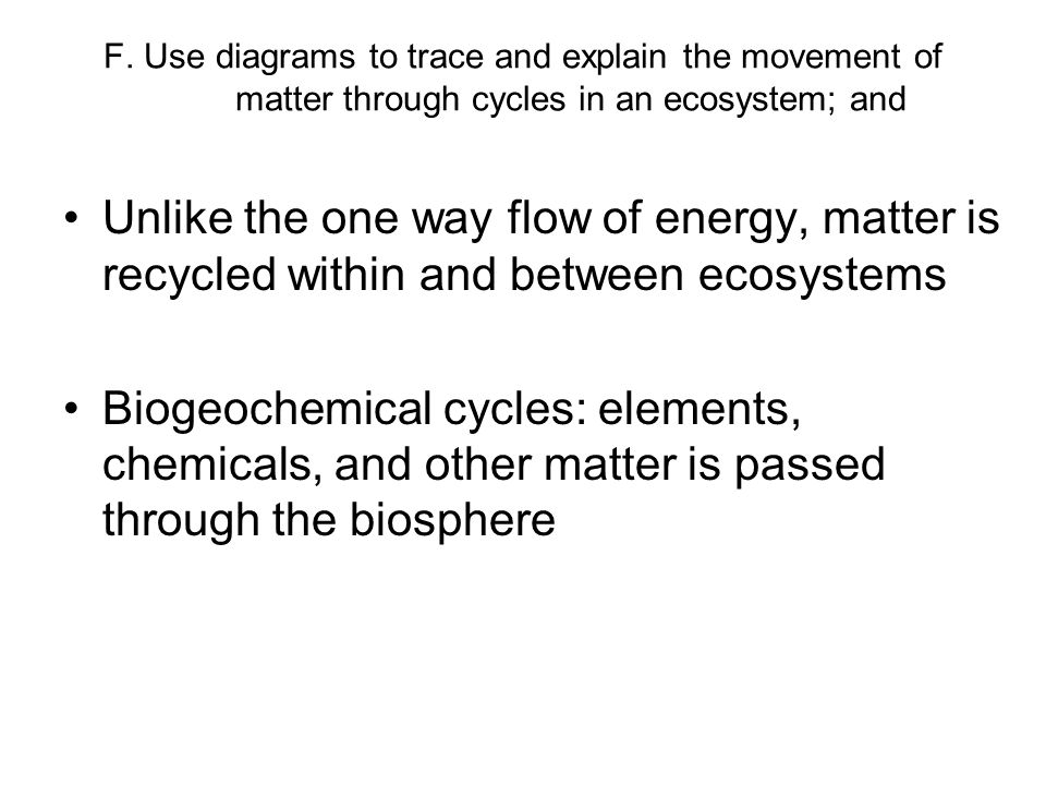 F. Use diagrams to trace and explain the movement of matter through cycles in an ecosystem; and