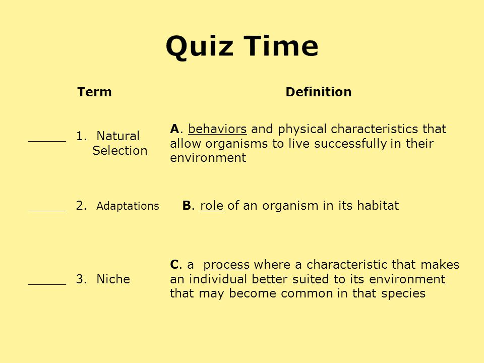 Quiz Time Term Definition _____ 1. Natural Selection