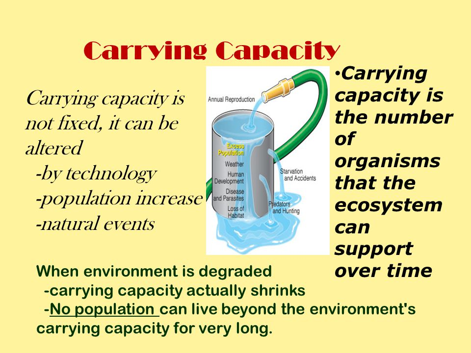 Carrying Capacity Carrying capacity is not fixed, it can be altered