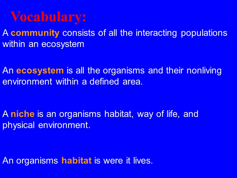 Vocabulary: A community consists of all the interacting populations within an ecosystem.