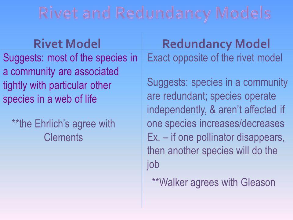 Rivet and Redundancy Models