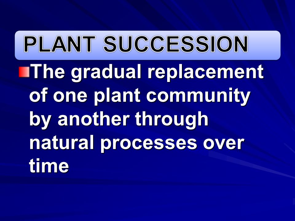 PLANT SUCCESSION The gradual replacement of one plant community by another through natural processes over time.