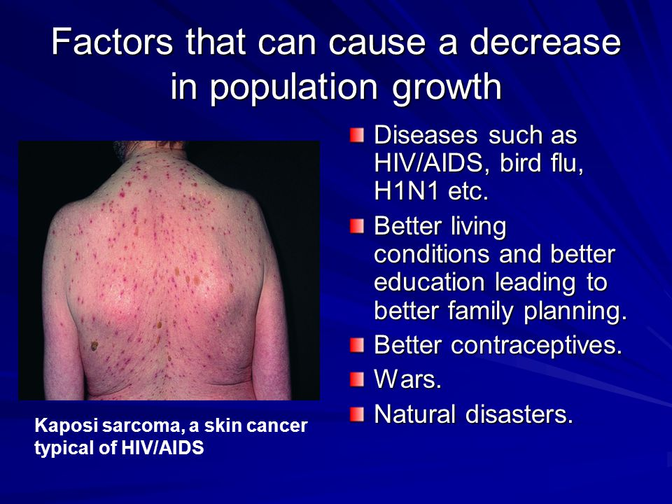 Factors that can cause a decrease in population growth